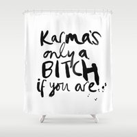 karma Shower Curtains featuring KARMA by I Love Decor