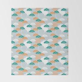 Pine Snowflake Japanese Kimono Pattern Throw Blanket