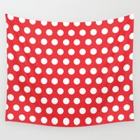 minnie Wall Tapestries featuring Minnie Mouse Dots | Red by DisPrints