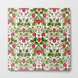 Strawberries & Honey Bees - Spring/Summer Pattern Metal Print
