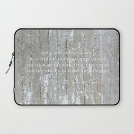 Serenity Prayer: White on Beige Laptop Sleeve
