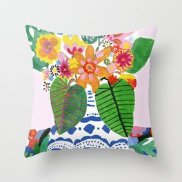 Abstract Flower Bouquet Throw Pillow