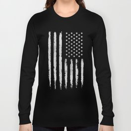 White grunge American flag Long Sleeve T-shirt