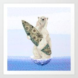 Polar bear & Surf (black) Art Print