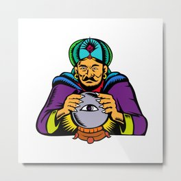 Fortune Teller With Crystal Ball Woodcut Metal Print