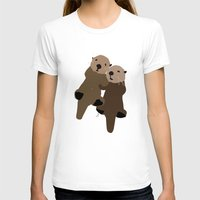 otters T-shirts featuring Made For Each Otter by Carrie Ambo