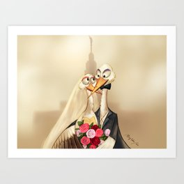 crane wedding Art Print