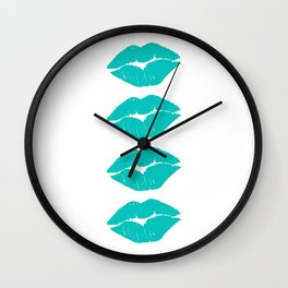 Four Turquoise Lips Wall Clock