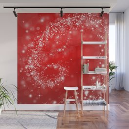 Elegant red white abstract Christmas pattern Wall Mural