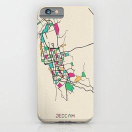 Colorful City Maps: Jeddah, Saudi Arabia iPhone Case