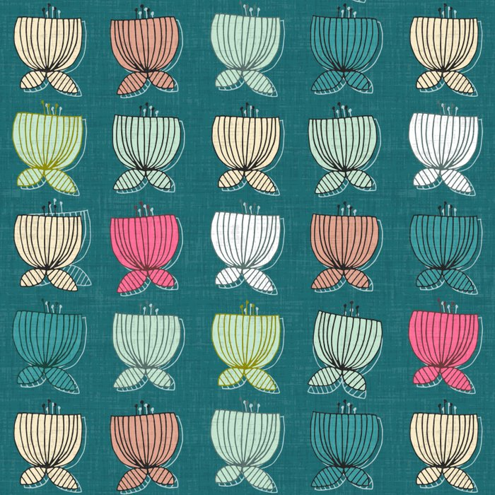 flower cups teal Duvet Cover