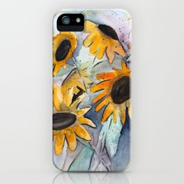 Loose Sunflower Watercolor Painting iPhone Case
