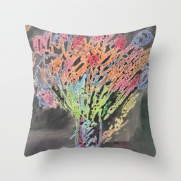 flowers on black background Throw Pillow