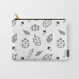 Hand drawn black white tribal geometrical pumpkin floral Carry-All Pouch
