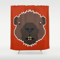 beaver Shower Curtains featuring The Brave Beaver by Taylor Dey