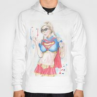 supergirl Hoodies featuring Supergirl by James Murlin