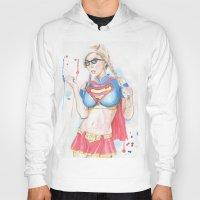 supergirl Hoodies featuring Supergirl by James Murlin
