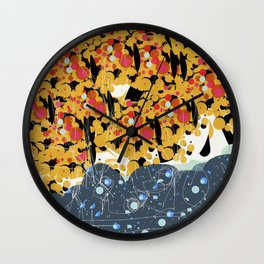 Yellow Trees in a Blue Forest Decorative Art Pattern Wall Clock