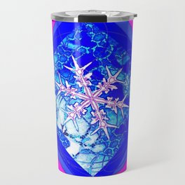 Icy Blue Frozen Snowflake Abstract Travel Mug