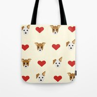 puppies Tote Bags featuring Puppies by Kobbzz