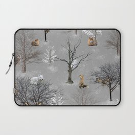 Owls and Foxes in Snowy Trees Laptop Sleeve