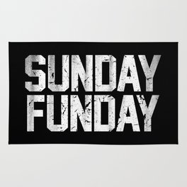 Sunday Funday Dirty Varsity Typography Print Black Rug