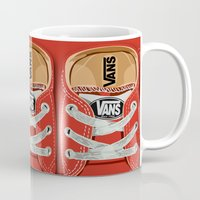 vans Mugs featuring Cute red Vans all star baby shoes apple iPhone 4 4s 5 5s 5c, ipod, ipad, pillow case and tshirt by Three Second