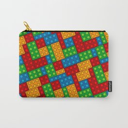 Building Blocks, Red Blue Green Yellow Bricks Carry-All Pouch