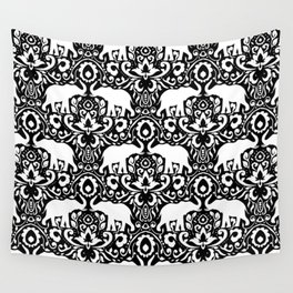 Elephant Damask Black and White Wall Tapestry
