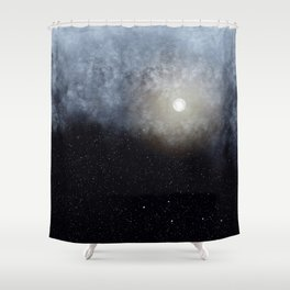 Glowing Moon in the night sky Shower Curtain
