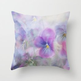 little pansies Throw Pillow
