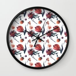 Artistic hand painted orange purple floral tulips pattern Wall Clock