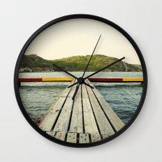 Pier in Caribbean lake Wall Clock