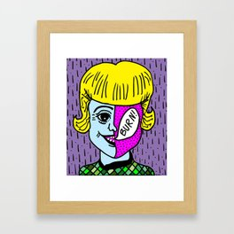 GIRL WITH A BURNIN' FACE. Framed Art Print