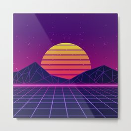 Miami Coast Synthwave Aesthetic Metal Print