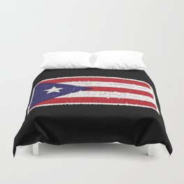 Puerto Rican flag with distressed textures Duvet Cover