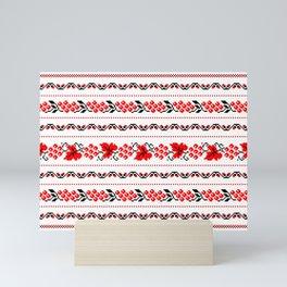 Ethno Ukrainian Pattern - Grape Guelder rose Oak - Symbol Mini Art Print