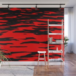 Black red abstract wave Wall Mural