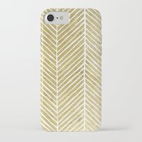gold foil iPhone & iPod Cases featuring Gold Foil Chevron by Berty Bob