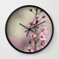 cherry blossom Wall Clocks featuring Cherry Blossom by Zen and Chic