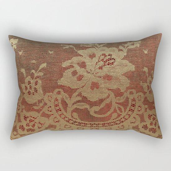 Red Lace Velvet 01 Rectangular Pillow