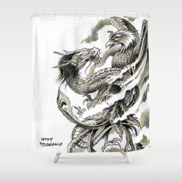 Dragon Phoenix Tattoo Art Print Shower Curtain