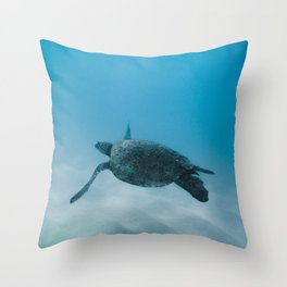 Turtle In The Sea Throw Pillow