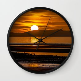 Rhyl Beach Sunset Wales Wall Clock