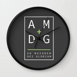 Jesuit motto latin phrase: Ad Maiorem Dei Gloriam Wall Clock
