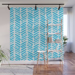 Simple Teal and white handrawn chevron - horizontal - for your summer Wall Mural
