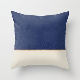 Navy Blue Gold Greige Nude Throw Pillow