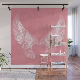 Pink/White Ethereal Angel Wing Digital Mural Art Wall Mural