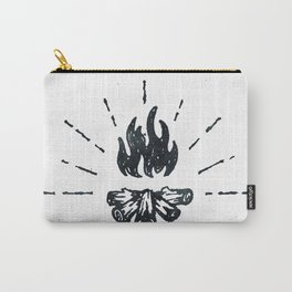 Campfire Black and White Flames Vintage Carry-All Pouch