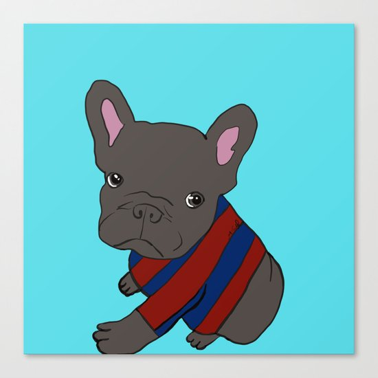 French Bull Dog Puppy in a Sweater Canvas Print